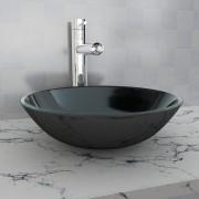 vidaXL Chiuvetă de baie din sticlă călită, 42 cm, negru