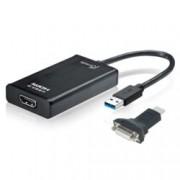 Преходник J5create JUA350, USB 3.0(м) към HDMI(ж), с HDMI към DVI конвертор, бял