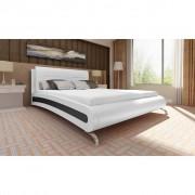 vidaXL Cadru de pat piele artificială 140 x 200 cm Albă