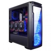 Кутия Xigmatek Hawthorn Black, ATX / Mini ITX / Micro ATX, 1x USB 3.0 / 2x USB 2.0, 4x вентилаторa 120mm (Сини LED), черенa, без захранване