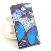 Кожен калъф за Lenovo Vibe Z2 с пеперуди и вертикално отваряне