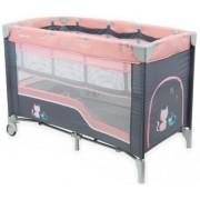Baby Mix prémium emelhető magasságú utazóágy pink színben cicás mintával