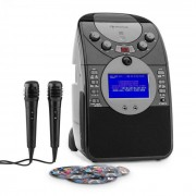 Auna ScreenStar Equipo de karaoke Cámara CD USB SD MP3 incl. 2 x micrófonos 3 x CD+G (KS1-539black+CD)