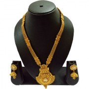 Pourni Traditional Long Necklace Set with Jhumka Earring for bridal jewellery Antique Finish necklace Set - DLNK51