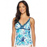 Tommy Bahama Tropical Swirl Over the Shoulder Shirred Tankini White