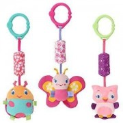 Bright Starts Pretty in Pink, Chime Along Friends, SET of 3 - Butterfly, Ladybug, Owl