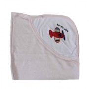 Krivi Kids Single Layer Pink color ( Baby's First Ride ) Cotton Baby Towel With Hood. ( 0-2 Years)