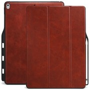KHOMO iPad Pro 12.9 Inch Case with Pen Holder - DUAL Brown PU Leather Super Slim Cover with Rubberized back and Smart Feature (sleep/wake) For Apple iPad Pro 12.9 Inches Tablet