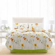 Lenjerie de pat, Dormisete, 2 persoane, renforce, imprimata, 220 x 230 cm, Rosemallow, bumbac, Verde