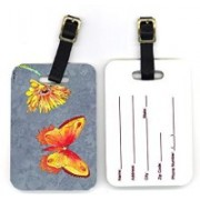 Caroline's Treasures 8877BT 4 x 2.75 in. Pair of Gerber Daisy and Buttefly Luggage Tag(Multicolor)