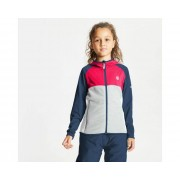 Kids' Hasty Full Zip Hooded Lightweight Core Stretch Midlayer Dark Denim Neon Pink