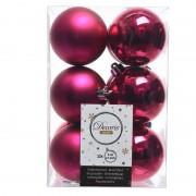 Merkloos Fuchsia kerstballen van kunststof 6 cm - Kerstbal