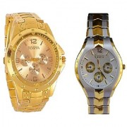 Rosra Gold and Rosra Gold -Silvere Black Dial White Women Watches Couple For Men and Women