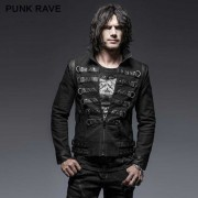 Punk Rave Rib Cage Lace Up & Buckled Zipper Warrior Jacket Black Y-637