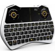 Mini tastatura Rii i28C wireless iluminata touchpad pentru Computer Smart TV culoare alba