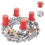 Adventskranz rund, Weihnachtsdeko Tischkranz, Holz Ø 40cm grau ~ Variantenangebot