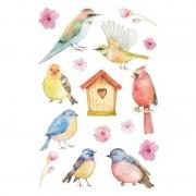 Geen 144x Vogels en bloemen stickers
