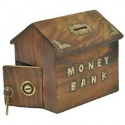 Triple S Handicrafts Brown Hut Shape Coin Bank (Brown)