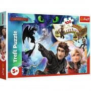 Puzzle clasic pentru copii, Pe taramul dragonilor, 100 piese Trefl