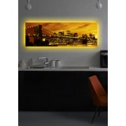 Tablou pe panza iluminat Shining, 239SHN1253, 30 x 90 cm, panza