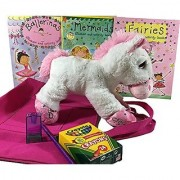 Unicorns Fairies Mermaids Ballerinas - A Dreamy Set of Activity Books 12 Inch Unicorn Plush Doll Crayola Crayons Pencil and Sharpener in Tote Bag - Birthday Get Well Gift