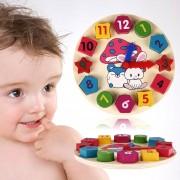 De Madera Juguete Bebé Número Reloj Colorido Rompecabezas Geometría Digital Despertador De Juguetes Educativos De Bebé Niño Educación Juguete, Puntero Al Azar Entrega