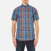 GANT Men's Small Check Short Sleeve Shirt - Persian Blue - M - Blue
