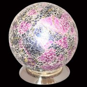 Mosaic Purple and Black Glass Sphere Table Lamp