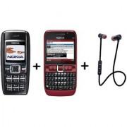 COMBO Refurbished Nokia 1600 + E63 With Wireless Stereo Sport Headphones Headset (1 Year WarrantyBazaar Warranty)