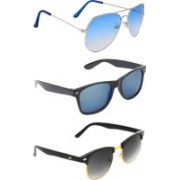 Zyaden Aviator, Wayfarer, Clubmaster Sunglasses(Blue, Multicolor, Black)