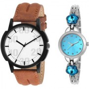 MACRON W-207 Couple Watch Combo Watch Brown Belt Silver Dial with Sky Blue dial Silver watch 207