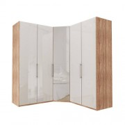 Garderob Atlanta - Ljus rustik ek 100 + hörn + 100, 236 cm