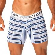 Agacio Stripes Long Leg Boxer Brief Underwear White/Black/Blue 5923