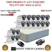 HIKVISION 2 MP 16CH DS-7116HQHI-F1 MINI Turbo HD 720P DVR + HIKVISION DS-2CE16DOT-IR TURBO BULLET CAMERA 16pcs CCTV COMBO