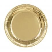 Merkloos 6x Gouden feest borden 23 cm