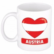 Bellatio Decorations Oostenrijkse vlag hartje theebeker 300 ml