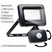 Luminea Mini-LED-Fluter, PIR-Bewegungssensor, 10 Watt, 800 lm, warmweiss, IP44