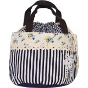 AyA Fashion Potli Style Blue Handbag with Combination of Check, Strip and Floral Design| Lunch Box Carrying Bag |Worship Bag Potli(Blue)