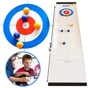 Elite Sportz Tabletop Curling Game for Families. Adults vs The Kids in this Fun Family Game. It's Way More Fun Than it Looks