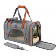 Travel Pet Bag Carrier PU Leather Dog Handbag Cat Tote Bag 46x26x28cm - Grey