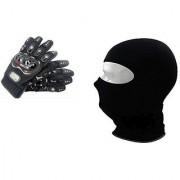 Combo Black Pro-Biker Gloves + Face Mask for Winter