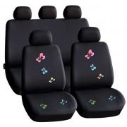 55672BF Autós üléshuzat szett pillangós fekete - 9 db-os HSA009