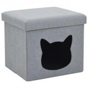 vidaXL szürke művászon összecsukható macskaágy 37 x 33 x 33 cm
