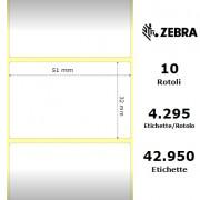 Etichette Zebra - Z-Ultimate 3000T White, formato 51 x 32