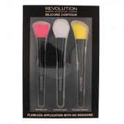 Makeup Revolution London Brushes sada plochý štětec 1 ks + blendovací štětec 1 ks + štětec pro konturování 1 ks