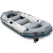 Set barca gonflabila / pneumatica Intex 68376 Mariner 4, pentru 4 persoane, 328 x 145 x 48 cm + vasle + pompa manuala