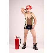 Andalea Firefighter Sheer Low Neck Tank Top & Boxer Brief Set Costume Black MC-9043