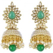Jewels Gold Alloy Party Wear Wedding Stylish Latest Jhumki Earring Set For Women Girls