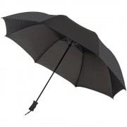 Umbrela 23 inch automatica pliabila, Everestus, VR, pongee poliester, negru, saculet de calatorie inclus