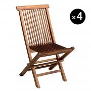 Happy Garden Lot de 4 chaises de jardin en teck huilé LOMBOK